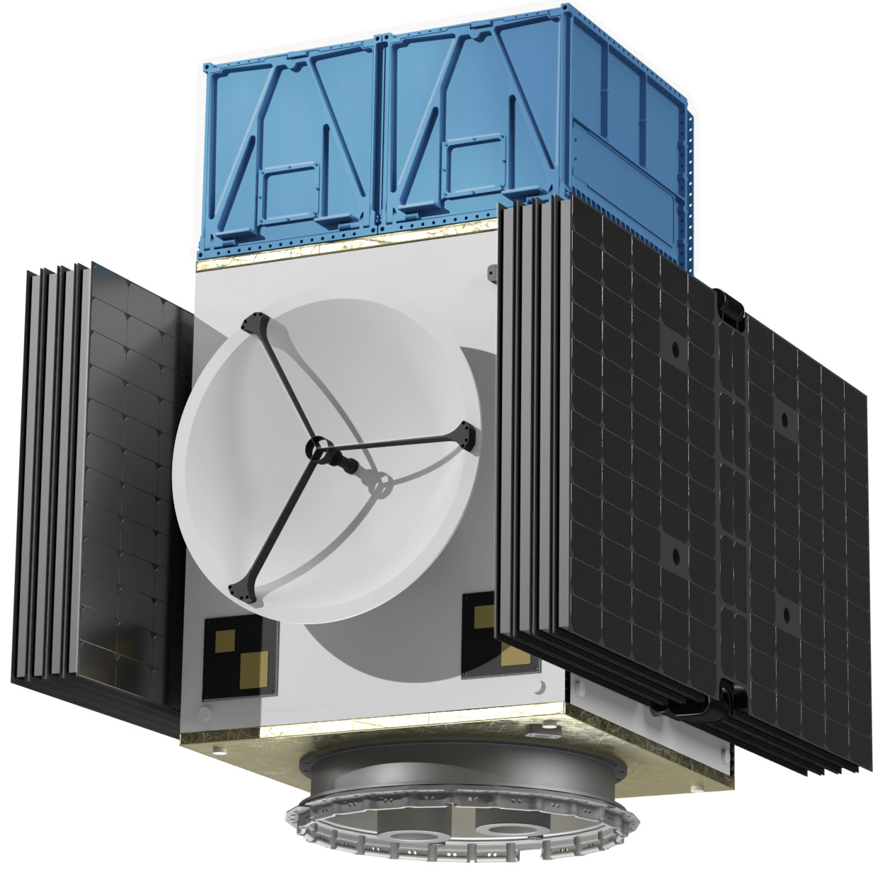 The MULTIPURPOSE ELECTRIC SATELLITE PLATFORM ESKIMO shown with folded solar wings at an isometric view from the side. On top of the satellite, 1-2 optional CubeSat Dispensers are attached instead of a payload. The dispensers have bright blue color and resemble structural boxes that can be opened to throw out the small satellites.
