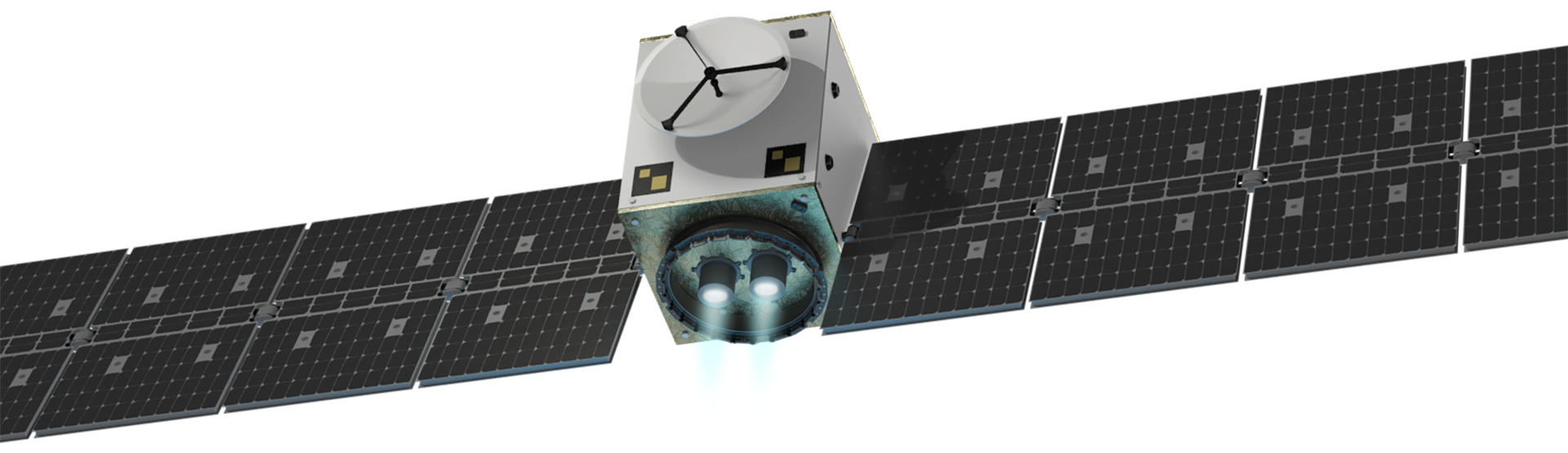 The MULTIPURPOSE ELECTRIC SATELLITE PLATFORM ESKIMO shown at an isometric view from below. The white cubic satellite body between the large, strechted-out solar panel wings is illuminated by the two firing ion-thrusters at the bottom, with its plumes shining in light blue.